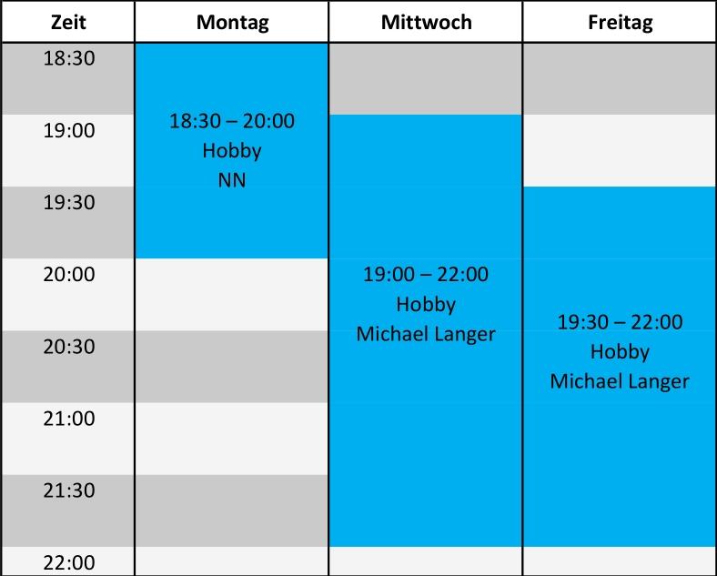 Trainingszeiten-Wochenplan